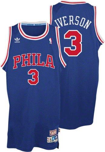 ... Allen Iverson Philadelphia 76ers Adidas Throwback Blue Swingman Jersey  ... 00362768f