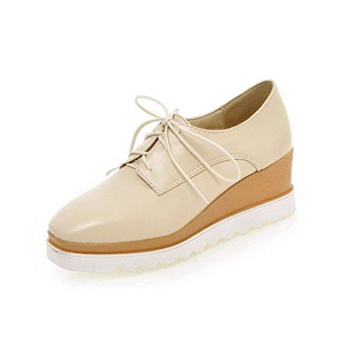 VogueZone009 Damen Rein Mittler Absatz Schnüren Quadratisch Zehe Pumps Schuhe Aprikosen Farbe