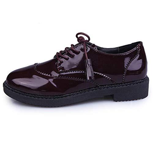 Plataforma Zapatos Charol De Mujeres Vendimia La Vino Oxfords De Rojo Brogue De OtoñO Franja Primavera Ladies Calzado La Borla Flats Up Lace Pisos Las Basic z1xZwq1