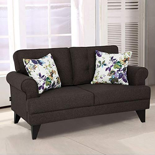 HomeTown Miller Fabric Two Seater Sofa in Brown Colour