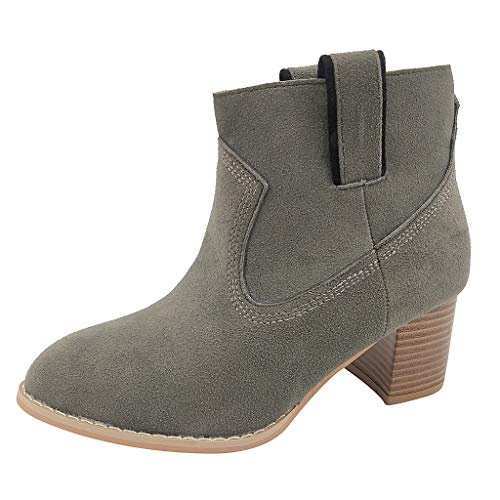 Ankle Boots Women Suede Flat Block Mid Heel 5cm Casual Slip-on Booties Winter Comfy Wide Fit Shoes ()