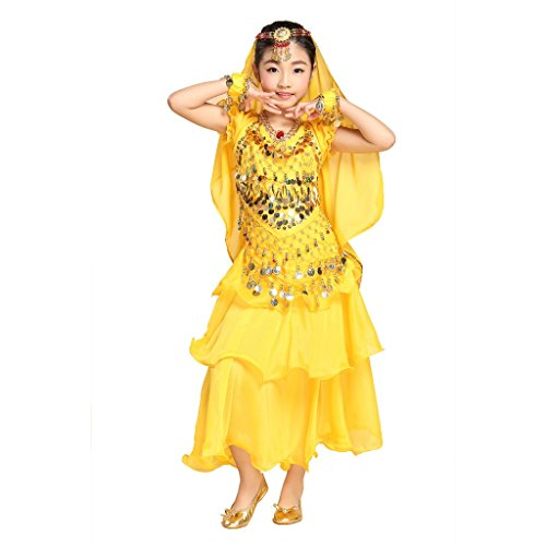 (Pilot-trade Girl Belly Dance Costume 3 Layers Skirt Hip Scarf Veil Sets ( Yellow , L ))