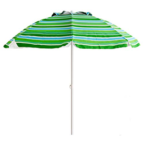 US PIEDLE 7ft Folded Beach Umbrella with Tilt and Silver Coating Inside, Integrated Sand Anchor and Air Vent Parasol Sun Shelter, Carry Bag Included Blue Green Stripe
