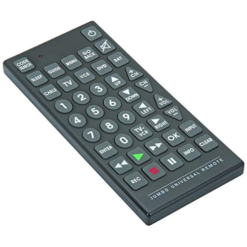 8 in 1 Jumbo Universal Remote - Control up to 8 Devices - Tv, Dvd, Cable, Satelite, VCR (Jumbo Tv Remote Control)
