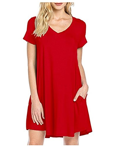 Kool Classic Women Casual Sleeveless Loose Tunic T-Shirt Dress with Pockets