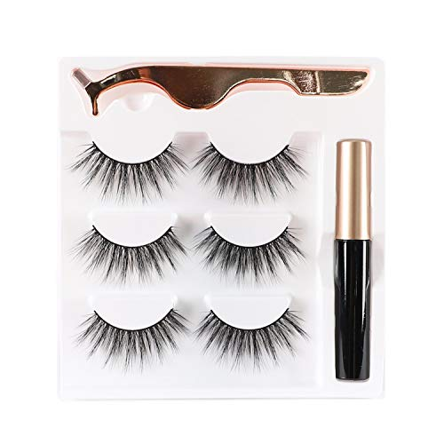 Newcally False Eyelashes Kit Natural False lashes 3 Pairs with Glue and Applicator