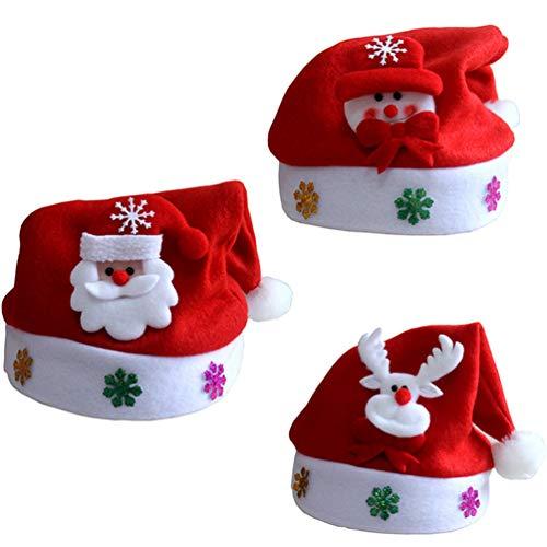 3 Pcs Children Christmas Santa Hats - Novelty Santa Clause Elf Snowman Design Santa Caps for Kids Xmas Party Costume -