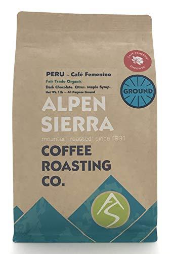 Organic Peruvian Coffee Ground, 16 ounces, Medium Dark Roast, Certified Organic Coffee, Fair Trade, Single Origin, Amazonas Peru, 100% Arabica, 1 lb., from Alpen Sierra Coffee