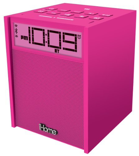 UPC 047532904970, iHome iBN180P Rubberized NFC Bluetooth Dual Alarm FM Clock Radio with USB Charging/Aux-In, Pink
