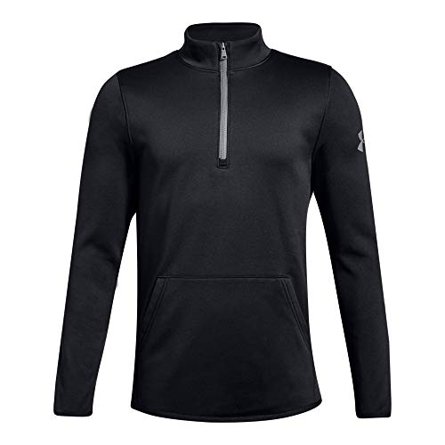 Under Armour Boys Armour Fleece 1/2 Zip, Black (001)/Steel, Youth Large (Kids Fleece Jacket)