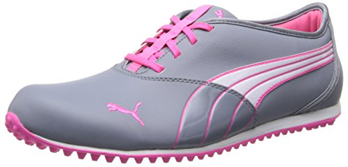 PUMA Women's Monolite WNS Golf Shoe,Tradewinds/White/Fluo Pink,10 M US ()
