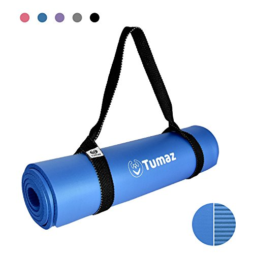 Tumaz All-Purpose Exercise Mat with Premium Carrying Strap Sling, High Density and Extra Durable Pilates Yoga Mat (Size 72″ x 24″ Thickness 2/5″, Multi-Colors)