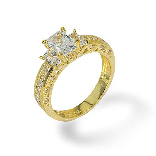 IcedJewels 3.52 cttw Emerald Cut CZ 10K Yellow Gold 3 Stone Engagement Ring, 9 ()