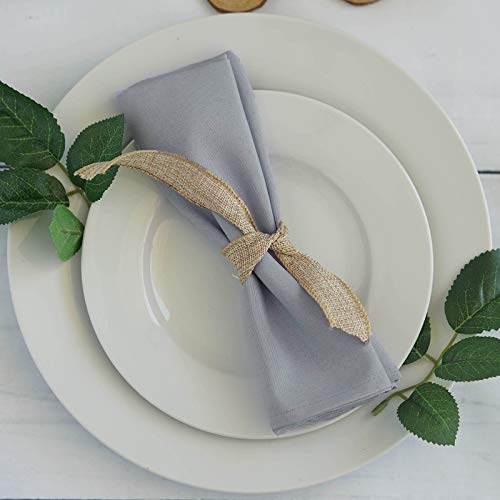 Efavormart 20x20 Silver Wholesale Polyester Linen Napkins for Wedding Birthday Party Tableware - 5 PCS]()