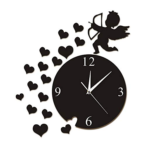 - xushihanjjli Wall Clock Cupid Arrow Hearts Cherub Angel Art Home Decor Modern Flying Cupid Love Angel Decorative Watch Gift Living Room Bedroom, Children's Room, Hotel Home Decoration