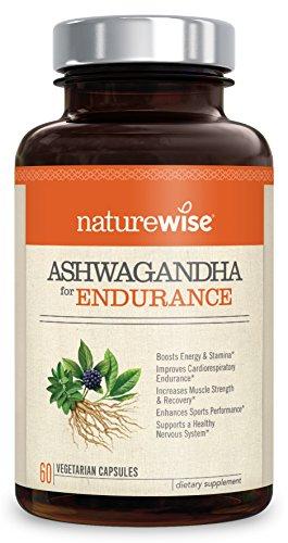 Ginseng Plus Green Tea - NatureWise Ashwagandha for Endurance — Adrenal Support & Energy Supplement with KSM 66 Ashwagandha Organic Extract, Green Tea & Vitamin B12, Boost Stamina & Reduce Physical Stress, 60 Veggie Capsules