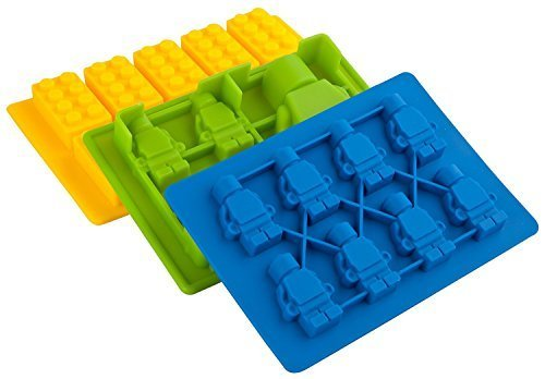 Kitchim Building Brick Candy Mold and Ice Cube Tray - Lego Figures and Bricks - Three Pack - Silicone by Kitchim
