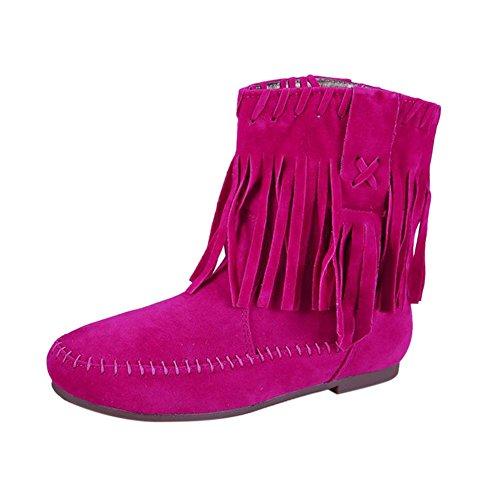 Hiver Rouge Plates Chaussures Frestepvie Chaud Femmes Pompon Bottes Dames Des yn8xvIWW6q
