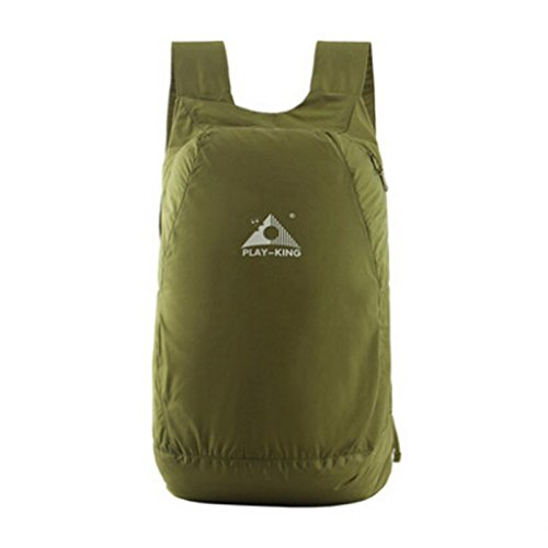 Playking Foldable Waterproof Lightweight Backpack Waterproof Nylon Bag for Camping, Hiking, Mountain, Climbing, Daily etc (Army Green) Mountain Nylon Backpack