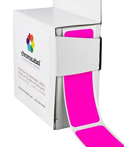 ChromaLabel 1 x 3 inch Color-Code Labels | 100/Dispenser Box (Fluorescent Pink)