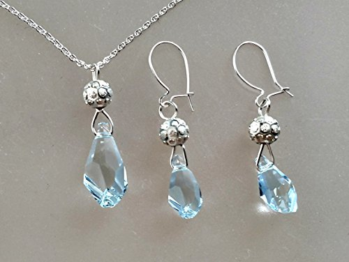 Azore Lt Pendant and Earrings Set Swarovski Crystals Polygon Drop in Sterling Silver Filled Wire Wrap
