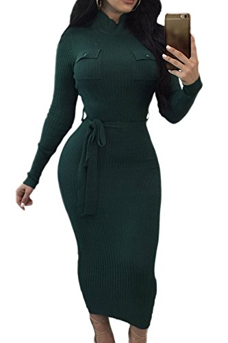 Vestido Invierno La Con Alto Larga Manga Mujer De Crucería Cuello Bodycon Green 8q780Ow