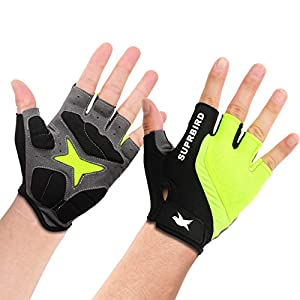 SUPRBIRD New Cycling Gloves Bike Gloves Mountain Road Bike Gloves Anti-Slip Shock-Absorbing Pad Breathable Half Finger…