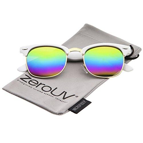 zeroUV - Premium Half Frame Colored Mirror Lens Horn Rimmed Sunglasses 50mm (White-Gold / Rainbow - Glasses Rainbow Lens