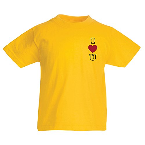 T Shirts for Kids I Love You! Awesome Gift Ideas - Valentines Day, Birthday, Anniversary (3-4 Years Yellow Multi Color) -