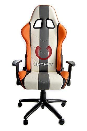 41%2BlNiggBuL - Cipher-Auto-Office-Racing-Seat-White-Leather-w-Gray-Orange-Stripes-Single
