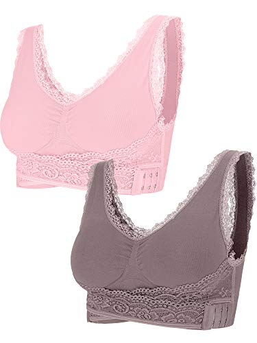 (2 Pieces Lace Vest Bra Seamless Front Cross Bras Adjustable Side Buckle Bra for Women Gym Wearing (Pink, Cameo Brown, M))