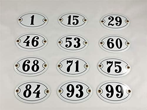 color blanco y negro N/úmero 60 para casa Emaille ovalado