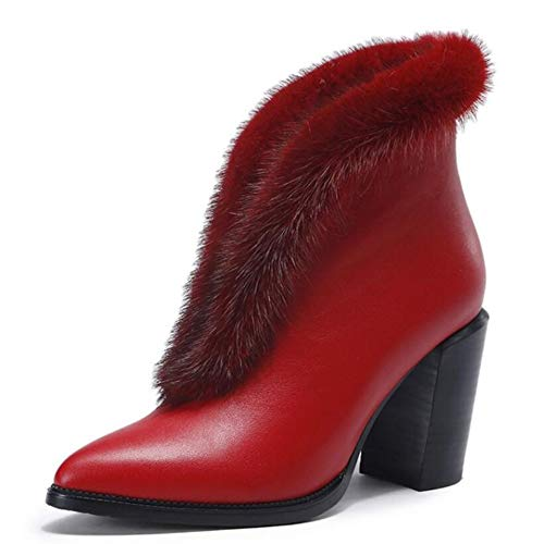 Donne Alto Stivali Stivali Sexy Bare Appuntito Stivali Stivali Caldo Tacco Martin Autunno Red Stivali Donna vYvxZBwR
