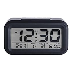 DuaFire Digital Alarm Clock with Controllable Backlight, Snooze Function (Black)
