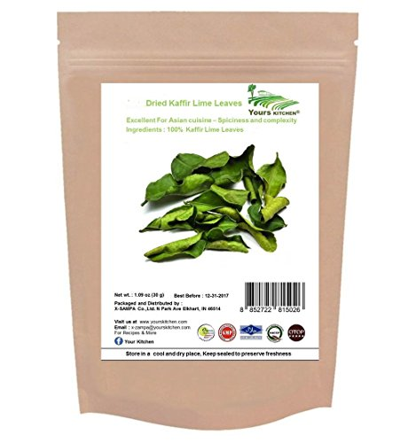 Yours Kitchen Premium Dried Leaves, Super Dry and Extremely Aromatic, Use to Cook many Asia Dishes, From Soups and Salads to Curries and Stir-Fried Dishes (1.09 Ounce)