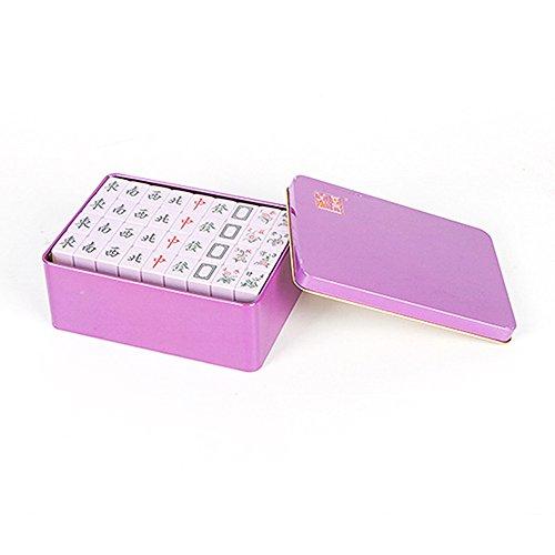 Lemonda Mini中国麻雀牌144pcs /設定Tinボックスパッケージポータブル旅行mah-jongゲームセットパープル