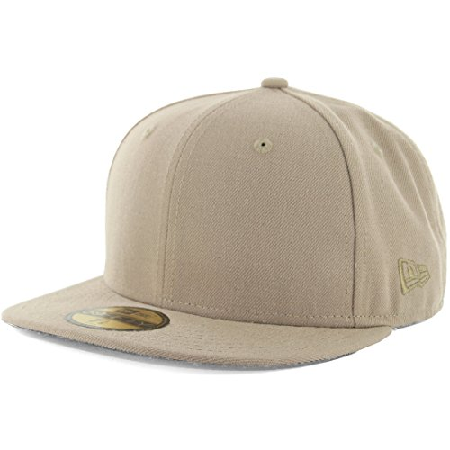 New Era Plain Tonal 59Fifty Fitted Hat (British Khaki) Men's Blank Cap ()