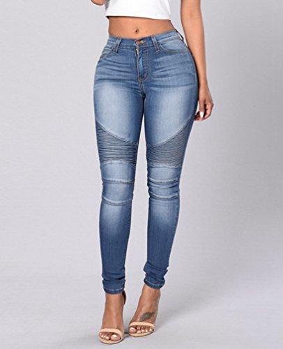 Stretch Crayon Bleu Slim Dooxi lgant Femmes Skinny Dcontracte Denim Haute Clair Taille Jeans Jeggings Pantalons IaIqxHt