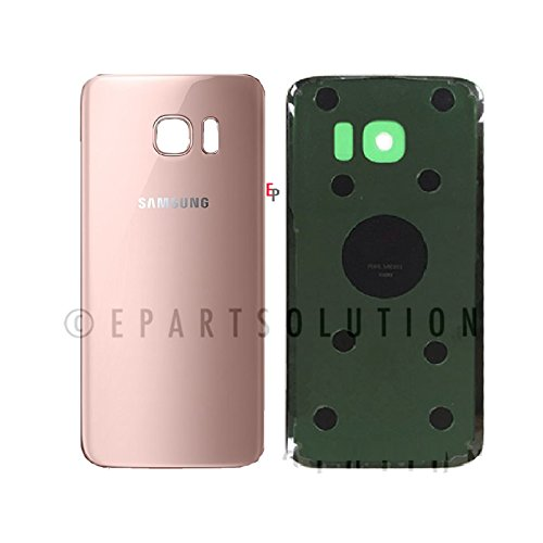 ePartSolution_Samsung Galaxy S7 Edge G935A G935V G935P G935T G935F Housing Battery Door Back Cover Glass Only Pink Gold Replacement Part USA (Pink Battery Door)