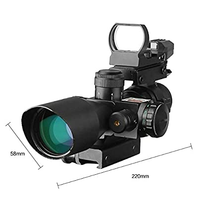 UUQ 2.5-10x40 Tactical Rifle Scope Dual Illuminated Mil-dot W/ RED(GREEN) Laser Sight, Rail Mount and 4 Reticle Red/Green Dot Reflex Sight (12 Month Warranty)