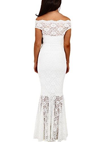 Elapsy Womens Sexy Off Shoulder Bardot Lace Evening Gown Fishtail Maxi Dress White X-Large