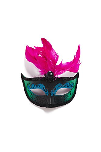 Venetian Mask With Plumage Feathers Sequins Mardi Gras Masquerade Carnival Decor (Bright pink, black, azure, turquoise)