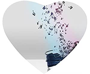 Note Nonskid Natural Rubber Base Heart Shaped White Mouse Pad - Fly Upward