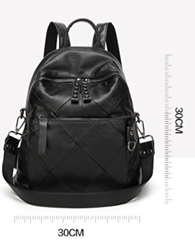 Travel Fashion Rucksack School Stitching Bag Large Black Backpack Capacity wqxCTrqEa
