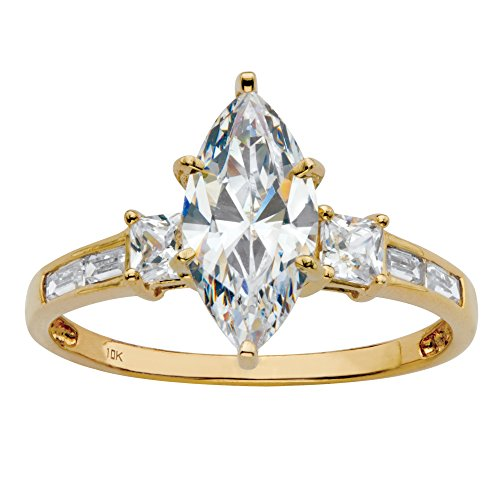 10K Yellow Gold Marquise Cut Cubic Zirconia Engagement Anniversary Channel Set Ring Size -