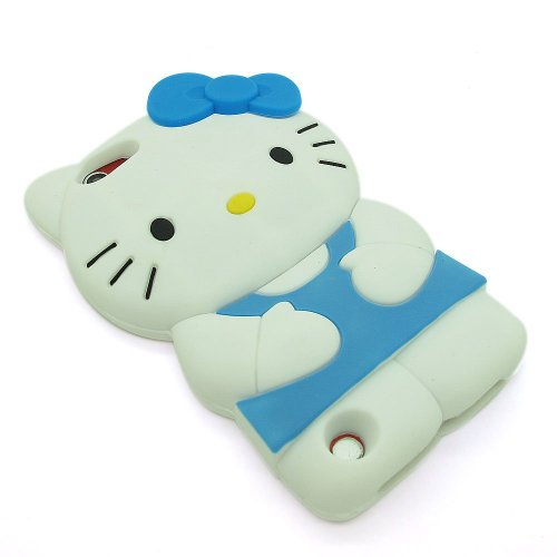 BYG Blue 3d Hello Kitty Soft Silicone Skin Case Cover for Apple iPod Touch 5 5G 5Th + Gift 1pcs Phone Radiation Protection Sticker