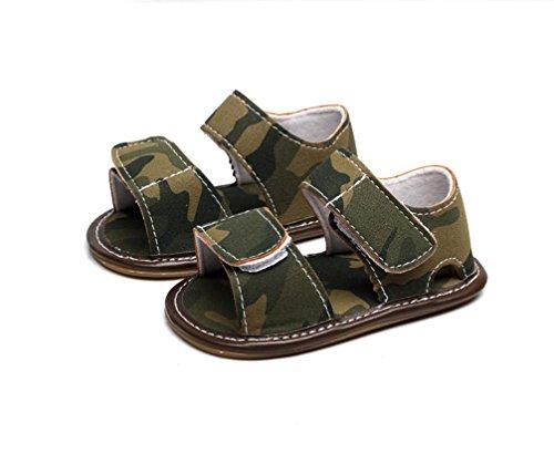 Clode® Neugeborenes Baby Boy Boy Leder Camouflage Sandalen Sommer Weiche Flache Schuhe Grün