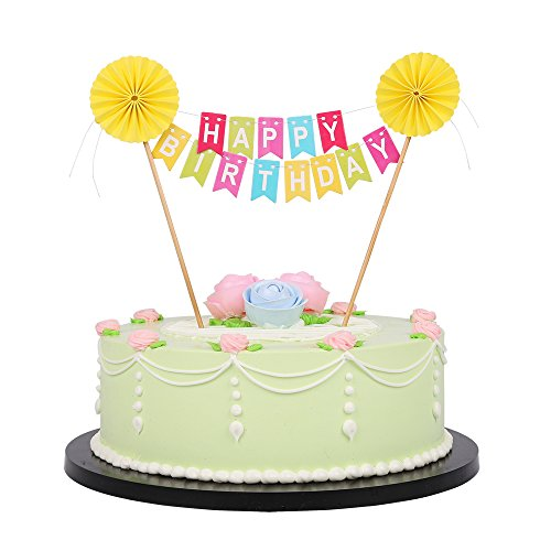 Rainbow Colorful Happy Birthday Cake Topper Banner - Yellow sun flower,Party Cake Decoration Supplies