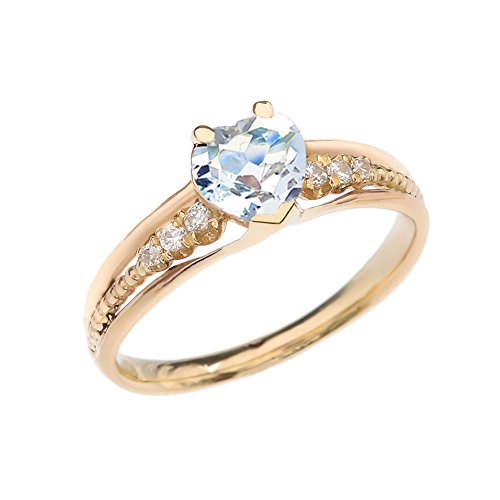 Dazzling 10k Yellow Gold Diamond And Aquamarine Birthstone Heart Beaded Promise Ring (Size 7)