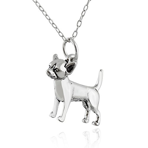 FashionJunkie4Life Sterling Silver Tiny 3D Chihuahua Dog Charm Necklace, 18